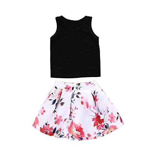 YEACH 子供服 赤ちゃん 80-120 女の子 花 印刷 スカート トップス 2セット春着 夏物 普段着 誕生日パーティー 遊園地
