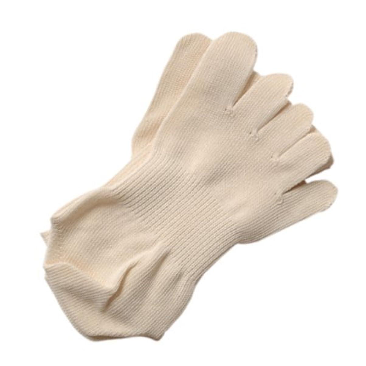 乱用教授小さい五本指薄手ソックスMアイボリー:オーガニックコットン100% 履くだけで足のつぼをマッサージし、健康に良いソックスです!