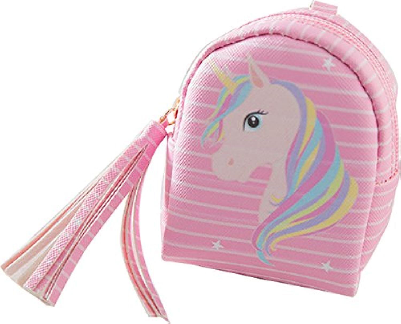 (アババラヤ) Ababalaya 可愛い ユニコーン 小銭入れ 小物入れ 財布 (ピンク)