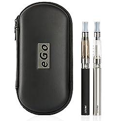 LEVIN [2本セット] 電子タバコ 節煙 1100mAH 大容量 リキッド注入用空ボトル・キャリングケース・ストラップ付き ブラック ステンレス