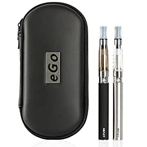 LEVIN [2本セット] 電子タバコ 節煙 1100mAH 大容量 リキッド注入用空ボトル・キャリングケース・ストラップ付き ブラック/ステンレス