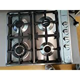 EUROTAG 60cm 4 Burner Gas Cook top Stainless Steel with Cast Iron Trivets