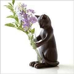一輪挿し 花瓶 猫 置物 かわいい インテリアオブジェ 試験管 ガラス 花器 フラワーベース ペン立て ネコの一輪挿し [sik1797]
