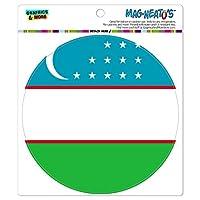 ウズベキスタン国立国旗 - サークル MAG-格好いい'S(TM)カー/冷蔵庫マグネット