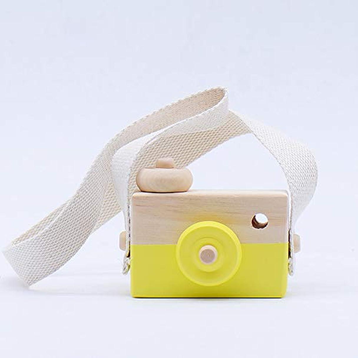 コールマイコン仲介者ミニかわいい木製カメラのおもちゃ安全なナチュラル玩具ベビーキッズファッション服アクセサリー玩具誕生日クリスマスホリデーギフト (黄)