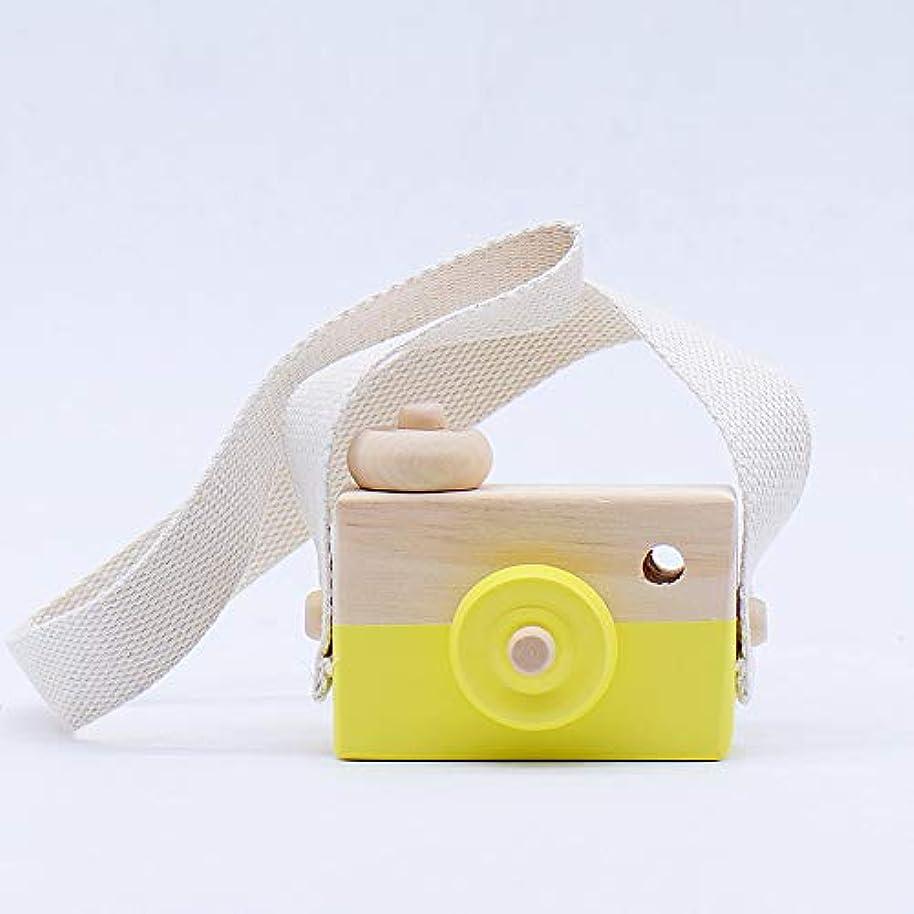 学習者崇拝します脱獄ミニかわいい木製カメラのおもちゃ安全なナチュラル玩具ベビーキッズファッション服アクセサリー玩具誕生日クリスマスホリデーギフト (黄)