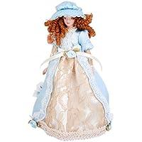 ノーブランド品 2個 1/12サイズ ドールハウス ミニチュア 磁器製 人形 人形の家 飾り 全6パタン選べ - 青貴婦人