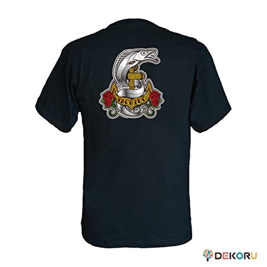 狭い比較可塑性フィッシングTシャツ GYOTTOO タチウオ バックプリント 黒