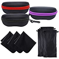 INNOLIFE 3 PCS Large Size Zipper Shell Sunglasses Glasses Case with Plastic Carabiner Hook & 3 PCS Glasses Pouch & 3 PCS Cleaning Cloth(Black)