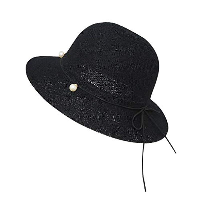 ヘビ上陸不機嫌帽子 ハット 夏フロッピー折り畳み式女性弓固体ビーチ日曜日帽子広いつば