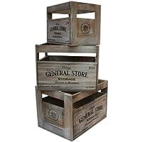 セット/ 3素朴なFarmers Marketデザインビンテージ木製Crates by west5products