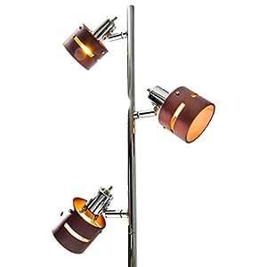 【木の温もりがお洒落な3灯スタンドライト (白熱電球付き)】 インテリアフロア照明 自由な角度でスポットライト・間接照明 フットスイッチ付 切替点灯可能 LED対応 (ブラウン色) 3灯ブラウン色 3灯フリータイプ