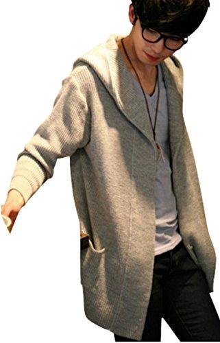 (アルファーフープ)α-HOOP メンズファッション 長袖 カーディガン パーカー ジャケット フード付き シンプル 柄 S ~ XXL 大きいサイズ も KDG1 (07.灰(M))