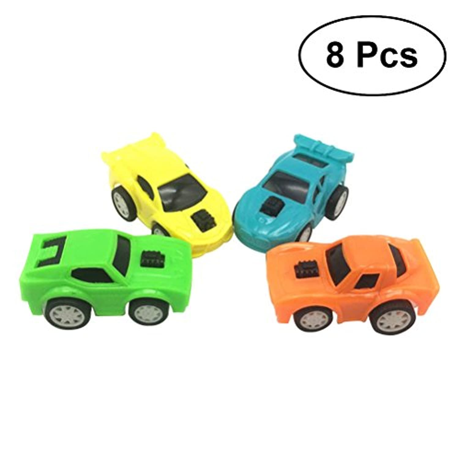 toymytoy Pull Back Vehicles Toy Friction Powered Toy Cars Push and Go Pull Back Cars 8pcs