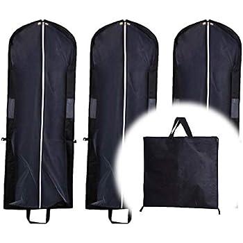 e706b10ff0 HC fan ドレスカバー 衣装カバー ロングコートカバー 150 cm 3枚 セット ロングドレス 社交ダンス 衣装 用 そのまま 持ち運び 可  選べる 4 カラー (ブラック)