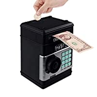 電子貯金箱ATMのパスワード貯金箱現金コインボックス保存ATM銀行金庫自動入金紙幣クリスマスギフト、グリーン