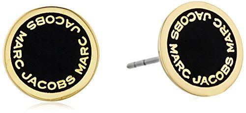 Marc Jacobs マーク マークジェイコブ ピアス イアリング Logo Disc Enamel Stud Earrings (Black/Oro)