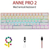Anne Pro 2 Mechanical Gaming Keyboard 60% True RGB Backlit - Wired/Wireless Bluetooth 4.0 PBT Type-c Up to 8 Hours Extended B