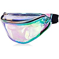 MDcharm Clear Holographic Fanny Pack - Iridescent Fanny Pack, Waterproof Hiking Fanny Pack for Women, Neon Rave Festival Waist Pack
