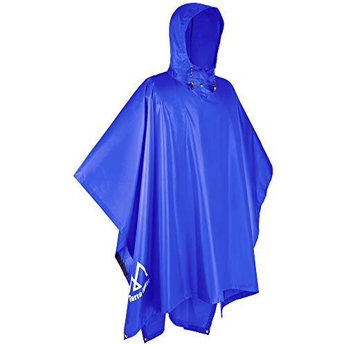 Terra Hiker レインポンチョ 防水レインコート ユニセックス 雨具 マジックテープ付き 収納袋付き (ダークブルー)