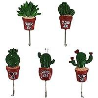 クララ5点Lovely Cactusフック装飾壁フックユーティリティフックキーフックハンガータオル用キーバッグコートキッチンバスルームホームデコレーション one size