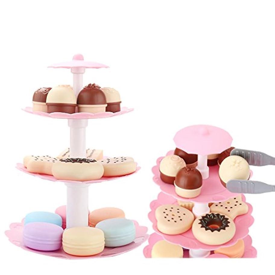 農村発音怒り食べ物 ままごと 子供 おもちゃ 3層 クッキー デザートセット モデル 食物セット 飾り