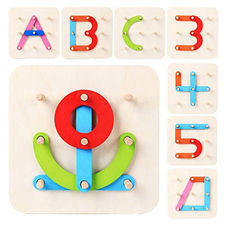 LiKee 木製アルファベット-数字-シェイプ-カラー 4イン1 パズル 就学前 積み重ねブロック 教育玩具 幼児 子供 対象年齢 3歳以上 最高のギフト 親 赤ちゃんの誕生日