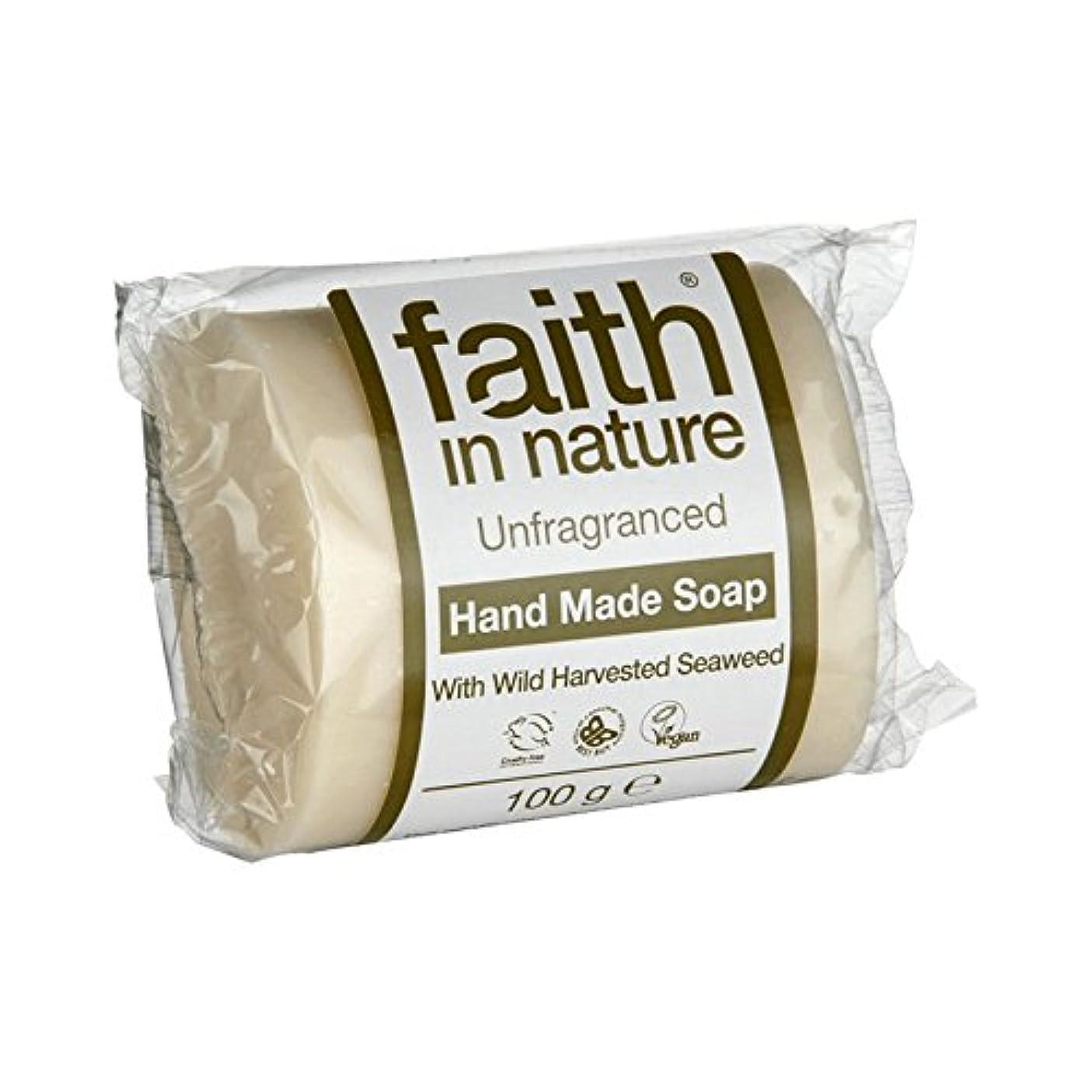 揮発性エンディング療法Faith in Nature Unfragranced Seaweed Soap 100g (Pack of 6) - 自然無香料海藻石鹸100グラムの信仰 (x6) [並行輸入品]