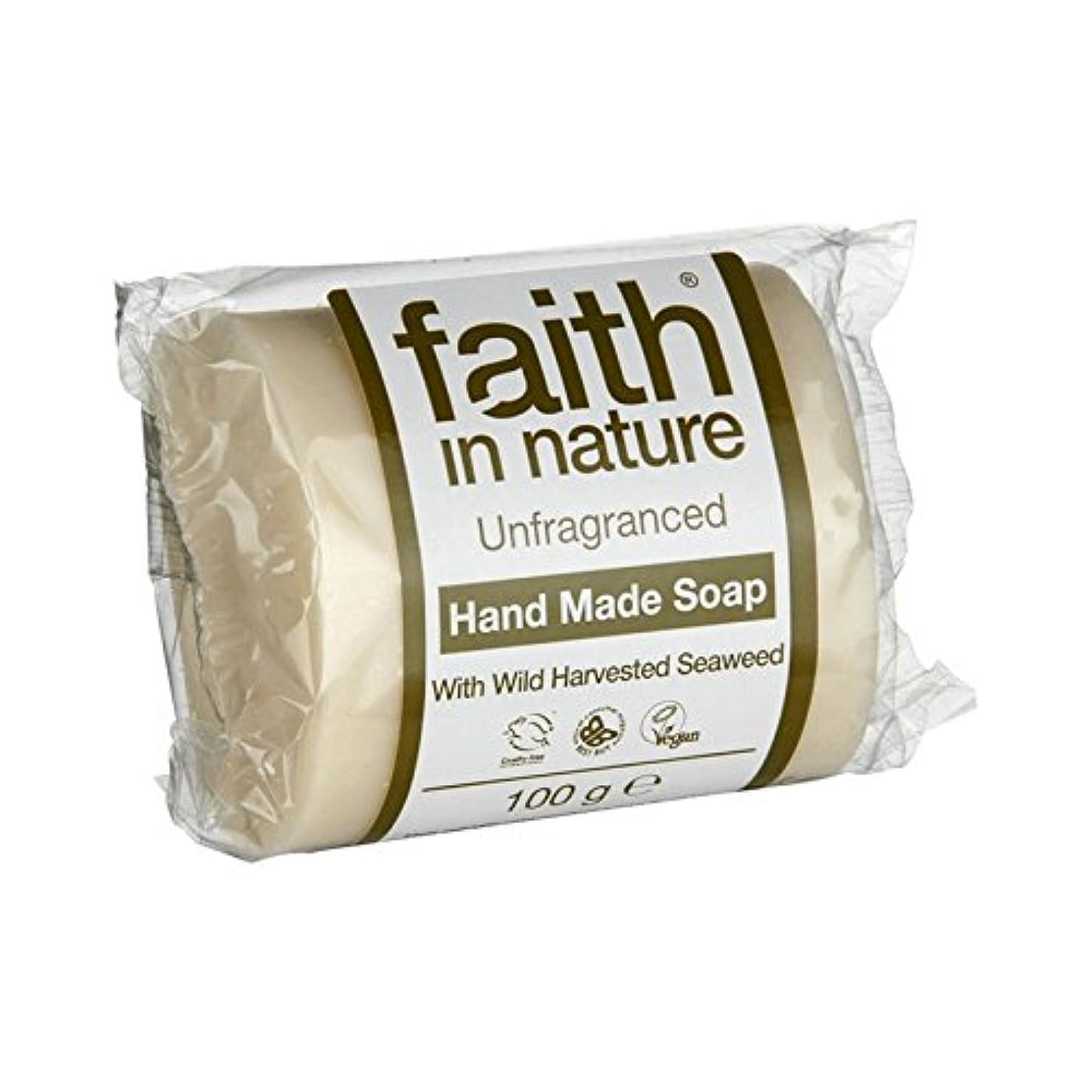 勇気のある残る例Faith in Nature Unfragranced Seaweed Soap 100g (Pack of 6) - 自然無香料海藻石鹸100グラムの信仰 (x6) [並行輸入品]