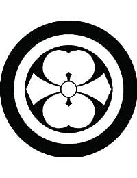 家紋シール 丸に二つ剣片喰紋 布タイプ 直径40mm 6枚セット NS4-0710