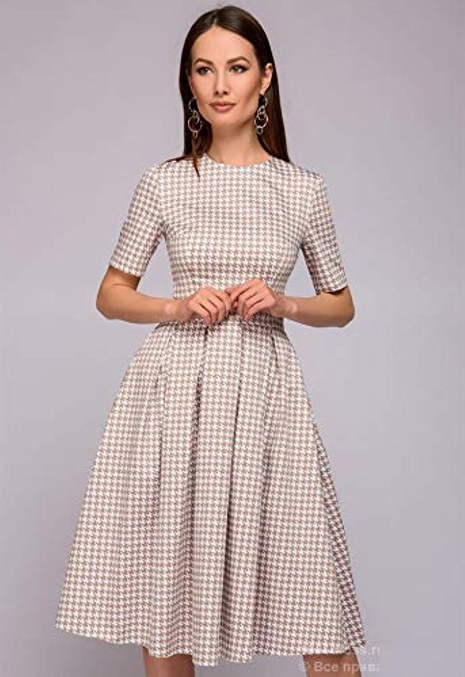 素晴らしいです床データムOnderroa - 秋の冬のドレスフラワープリントハーフ分袖パッチワークドレスの女性のカジュアルエレガントなパッチワークAラインvestidos [XXLネイビーブルー]