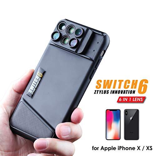 Ztylusスイッチ6for iPhone X : 6-in - 1デュアルOpticsレンズシステム(魚眼レンズ、望遠、広角、マクロ、スーパーマクロ)、二層保護