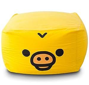 エムール 日本製 特大 マイクロビーズクッション 『キューブ mochimochiシリーズ』 クッション本体+洗える専用カバーセット L+(プラス) サイズ キイロイトリ