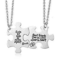 2pcs Puzzle Best Friend Necklaces BFF Necklace for 2 Friendship Best Friends Forever Pendant Set