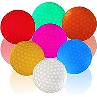 Felimoa ライトアップゴルフボール Light Up Golf Ball 光るゴルフボール 白、桃、赤、黄、青、緑、オレンジの7個セット 練習用 や コンペ の 景品 にも♪
