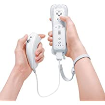Wii Controller Remote and Nunchuck Controller Combo Set Bundle Remote and Silicon Case + Wrist strap For Wii (White)