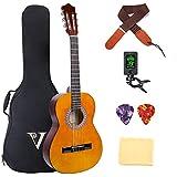 クラシック ギター アコースティック ギター 36インチ 3/4ナイロン 弦 小学生 大人用 ギター初級 セット バッグ ストラップ チューナー ピアノクロス ピック