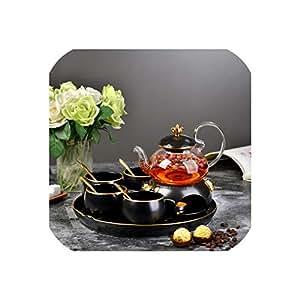 北欧のシンプルなコーヒーカップセットティーポットセットイングリッシュアフタヌーンティーゴールドセラミック加熱ガラスフラワーティーポット、トレイキャンドル、ワンポット(4カップ)1