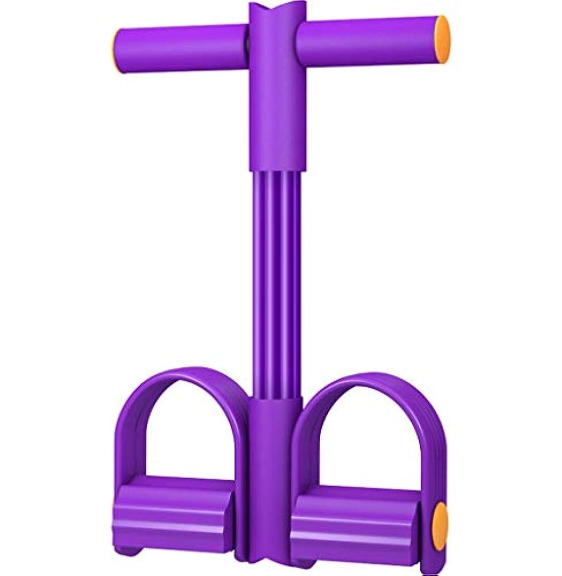 のぞき見和解する分注するCDWJFA- スリミングトレーニングを伸ばすためのハンドルフィットネス機器ペダルプラーエクササイズバンドとペダル弾性プルロープ (Color : Purple)