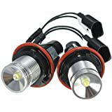 RISHIL WORLD 3W LED Angel Eyes Lights Halo Ring Bulbs White Pair for BMW E39 E63 X5 E83 5 6 7 Series 2002-2008