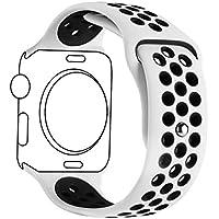 METEQI バンド Compatible For Apple Watch バンド, シリカゲルバンド スポーツシリコンストラップリストバンド交換バンド柔らか運動型 M/L Series 4/3/2/1 (42MM/44MM, 白/黒)