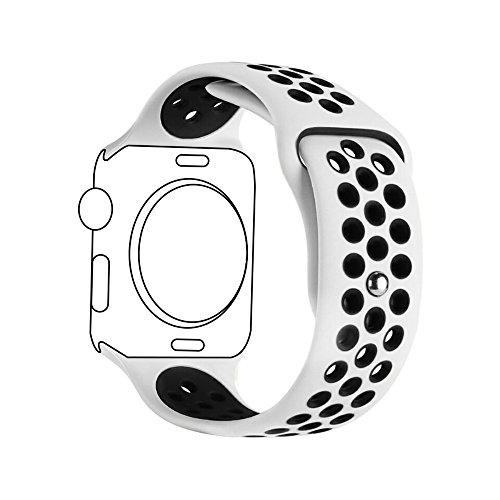 METEQI For Apple Watch Band シリカゲルバンド スポーツシリコンストラップリストバンド交換バンド柔らか運動型 M/L Series 3/2/1 (42MM, 白/黒)
