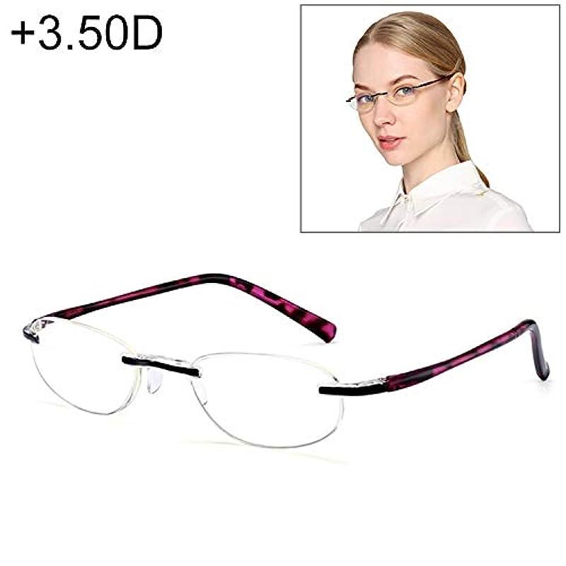 あご前進すみませんXIGANG 女性用アンチブルーレイ一体型縁なし老視メガネ、+ 3.50D YANG