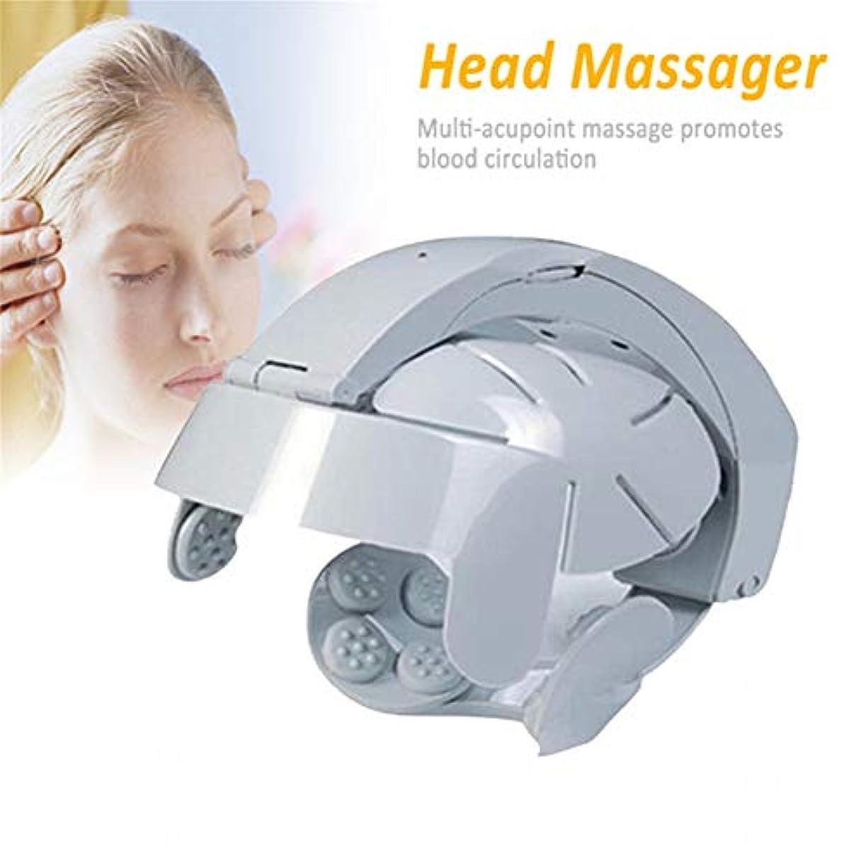 振り向く提供する優勢電動ヘッドマッサージ器指圧ヘルメットヘッドマッサージ器で振動を緩和ストレス神経刺激を緩和して頭痛を和らげます