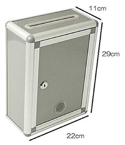 『Aoakua 鍵付きBOX 募金箱 / 応募箱 / 投票箱 / アンケートボックス シルバーグレー W22cm』の3枚目の画像