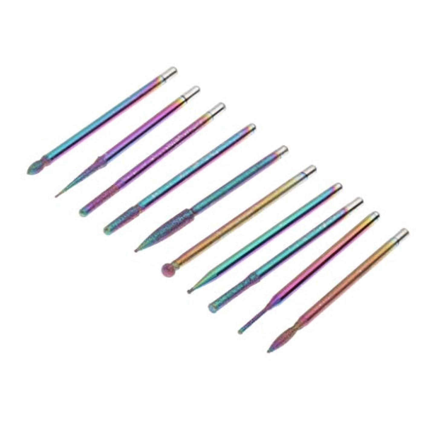 誓約消化器却下するSM SunniMix ネイルアート ドリルビット セット 研削ヘッド 研磨ヘッド ネイルビット 爪磨き ツール 約10個 全3色 - 03