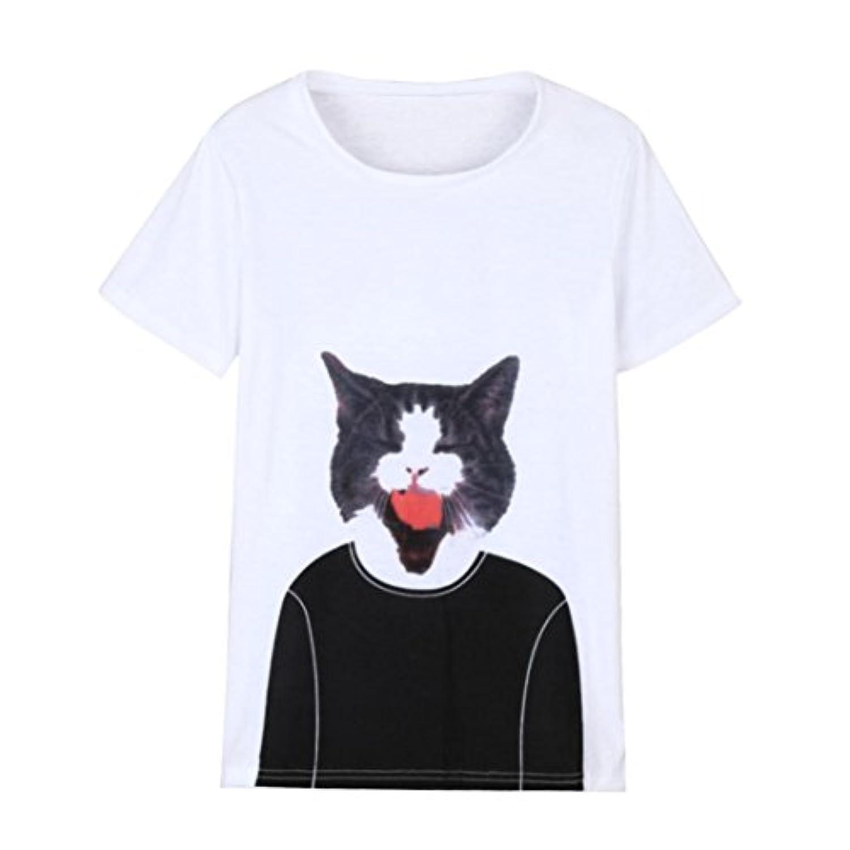 LZE_レディース猫プリント半袖Tシャツ Tシャツ レディース 半袖 3D 猫 プリント ドライ素材 スポーツ 吸水速乾 無地 母の日 アベツク おしゃれ シンプル 彼女 プレゼント