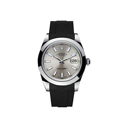 [ラバービー] RubberB ROLEX デイトジャストII(41mm)専用ラバーベルト(2017年以前のモデルに適合)(ROLEX純正バックルを使用)(ブラック)※時計は付属しません(Watch is not included)[並行輸入品]