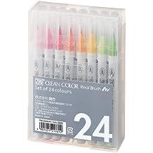 Kuretake Clean Color Real Brush Watercolour Brush Pens (Set Of 24 Colours)