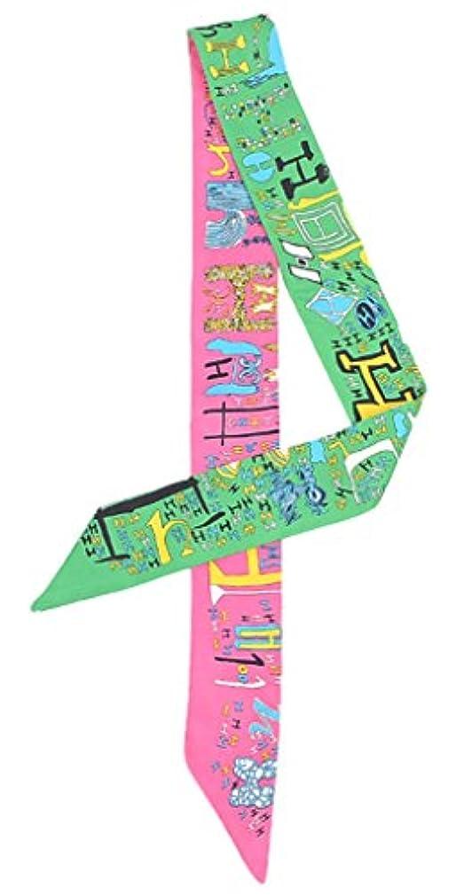 抽象化ルー割合(ビグッド)Bigood ツイリー スカーフ バッグ 鞄 アクセサリー カバン レディース ハンドル 細長 リボン スカーフ 持ち手 小物 プリント 配色 グリーン